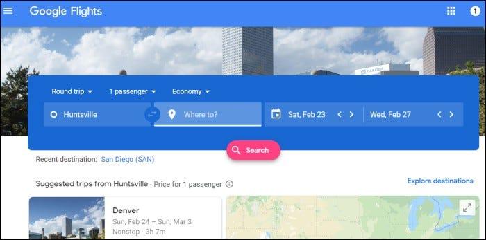 google flights home page