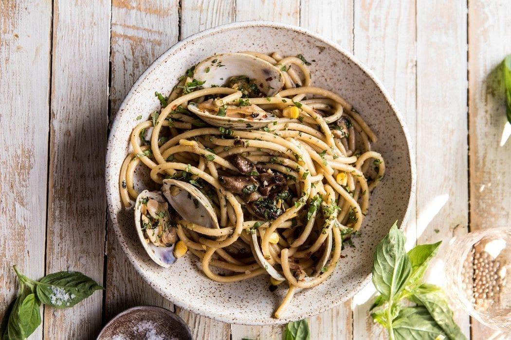 mushroom and clam pasta - from halfbakedharvest.com
