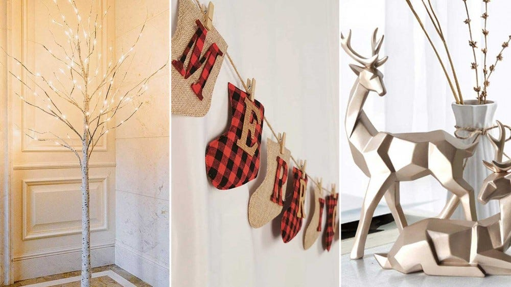 Left to right: a LED birch tree, a plaid and burlap banner, and geometric reindeer.