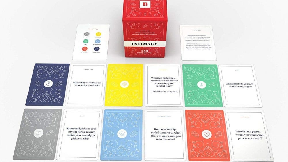 Intimacy card deck spread out on a table.