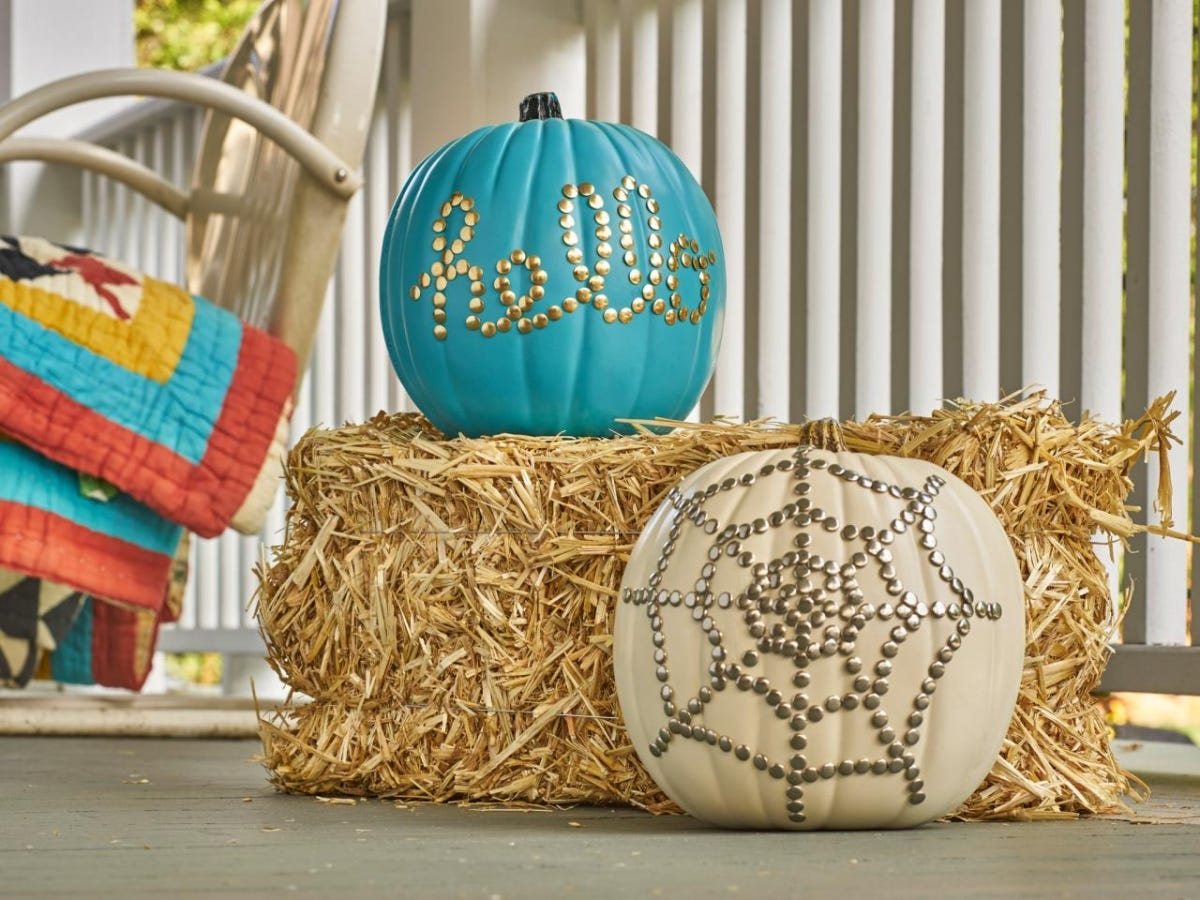 thumbtack pumpkin designs on teal and white pumpkins