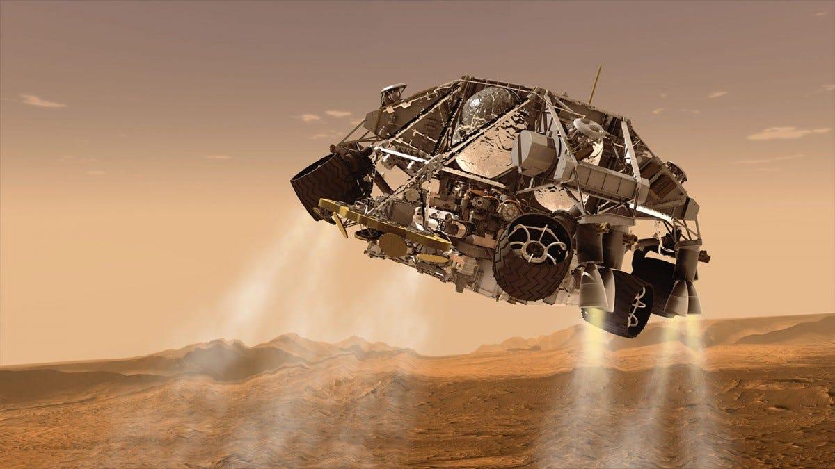 An artist's rendering of the Curiosity rover's landing pod descending on Mars.