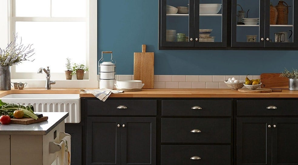 The Blue Skies Magnolia Home by Joanna Gaines paint on a kitchen wall.