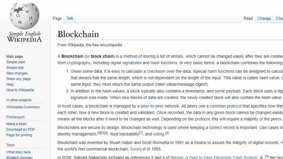 "The Simple English Wikipedia page for ""Blockchain."""