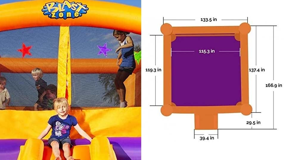 Multiple children bouncing in a bounce house, seen beside a diagram of the large dimensions of the bounce house.