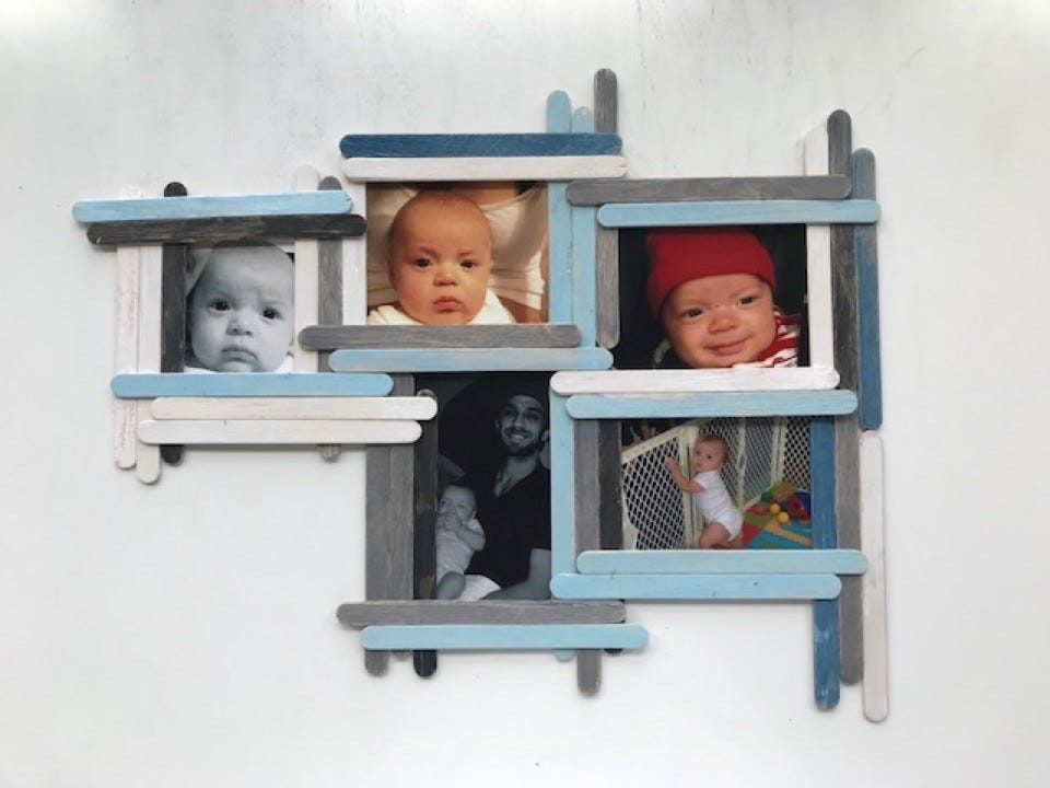 A five-photo wall collage of a baby and his dad.