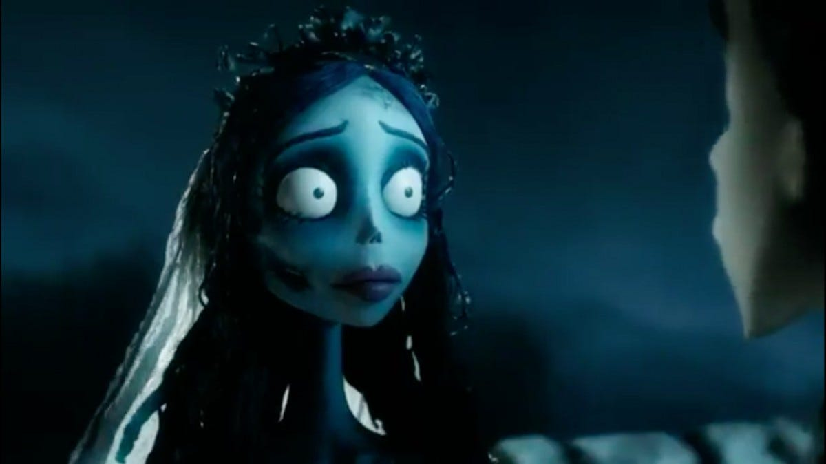 A screenshot from Corpse Bride, depicting the wide-eyed bride.