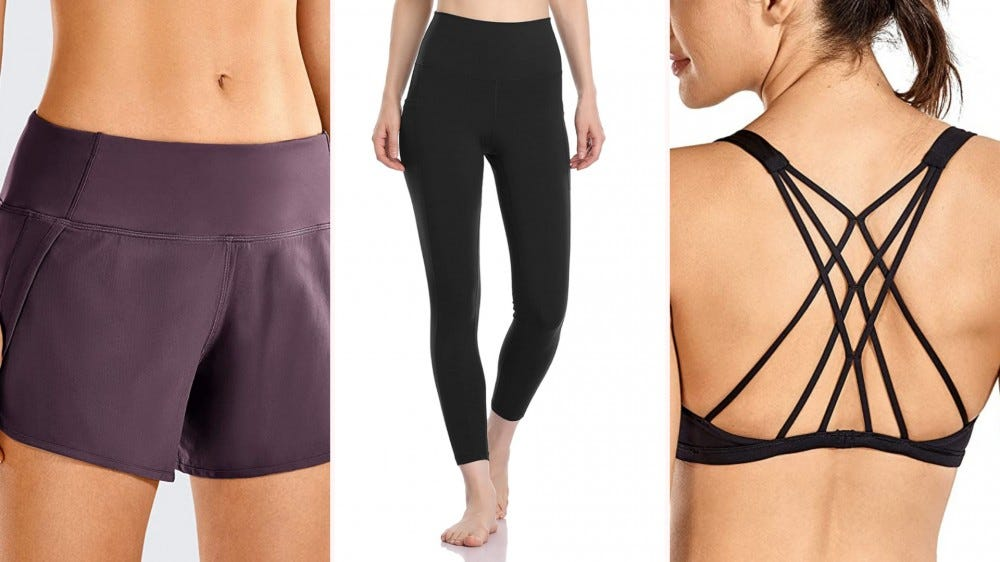 shorts, leggings and sports bra