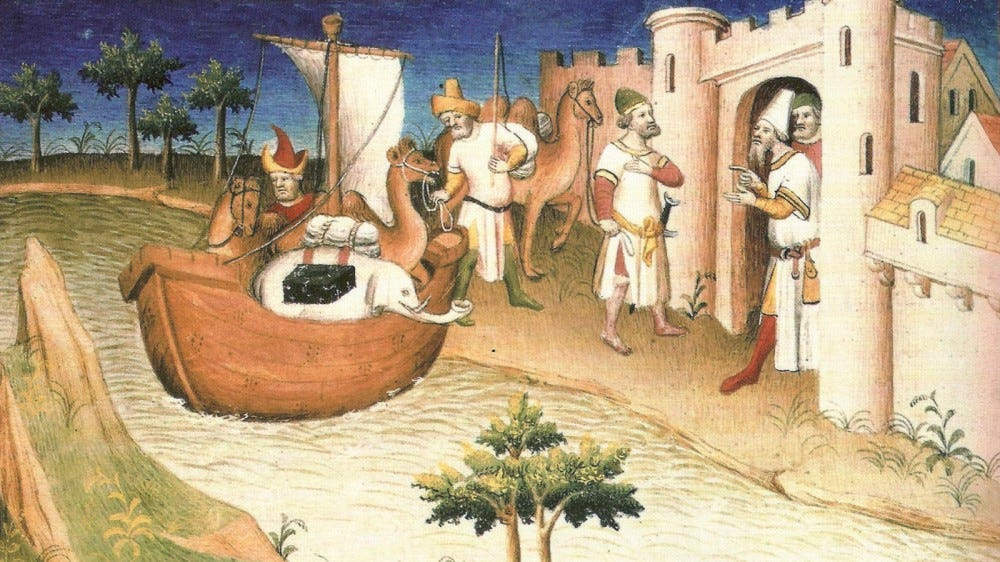 A painting depicting the travels of Marco Polo.
