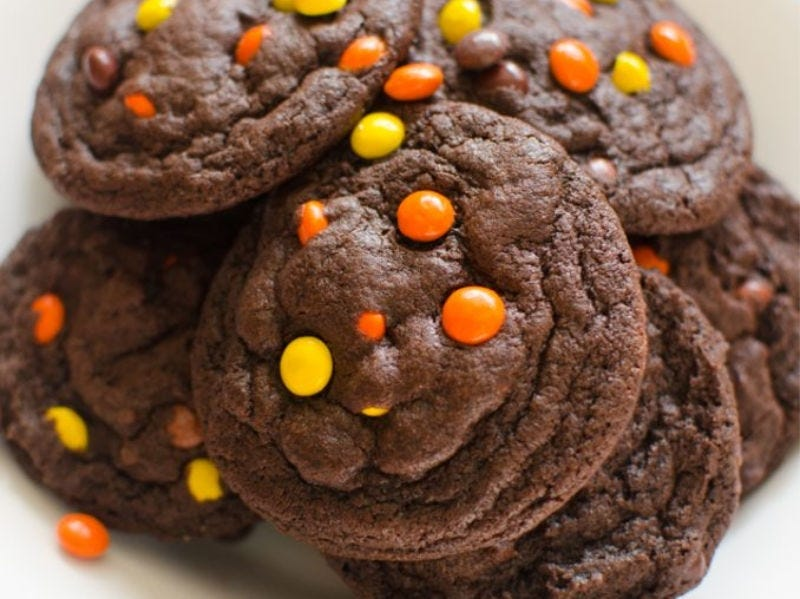 Chocolate cookies with Reese's pieces.