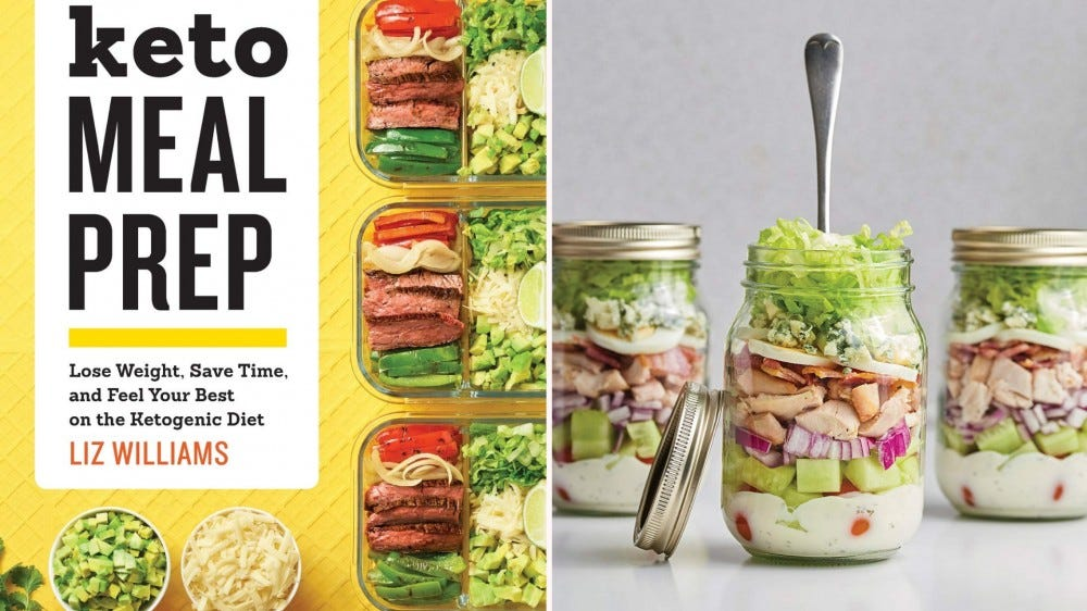 """The cover of """"Keto Meal Prep"""" and three salads in jars."""
