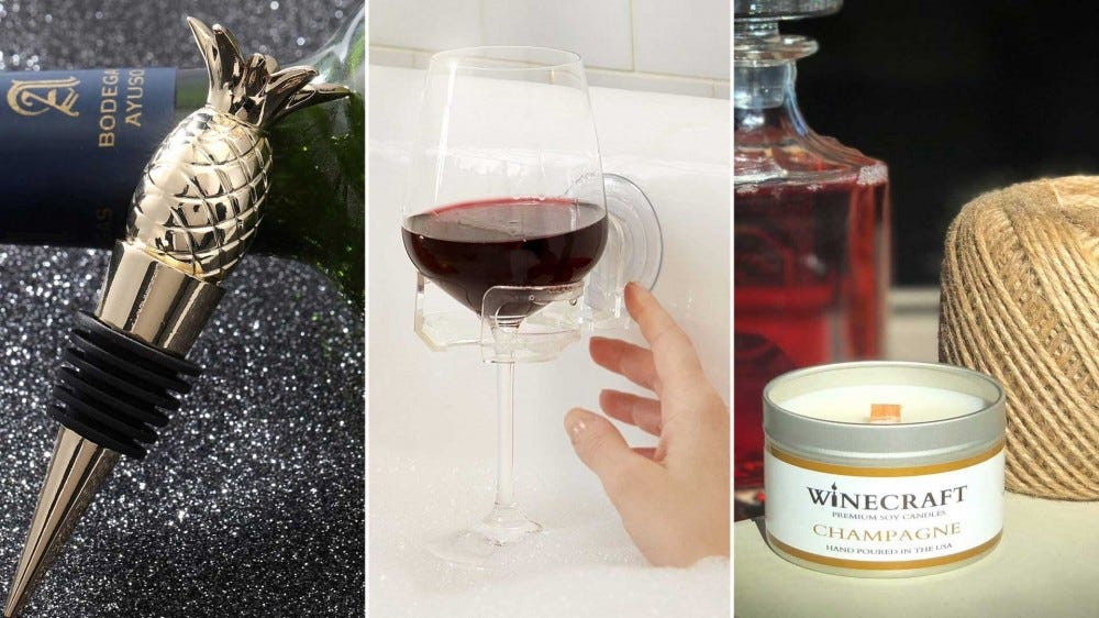From left to right: a wine stopper, a bathtub wineglass holder, and a wine-themed candle.