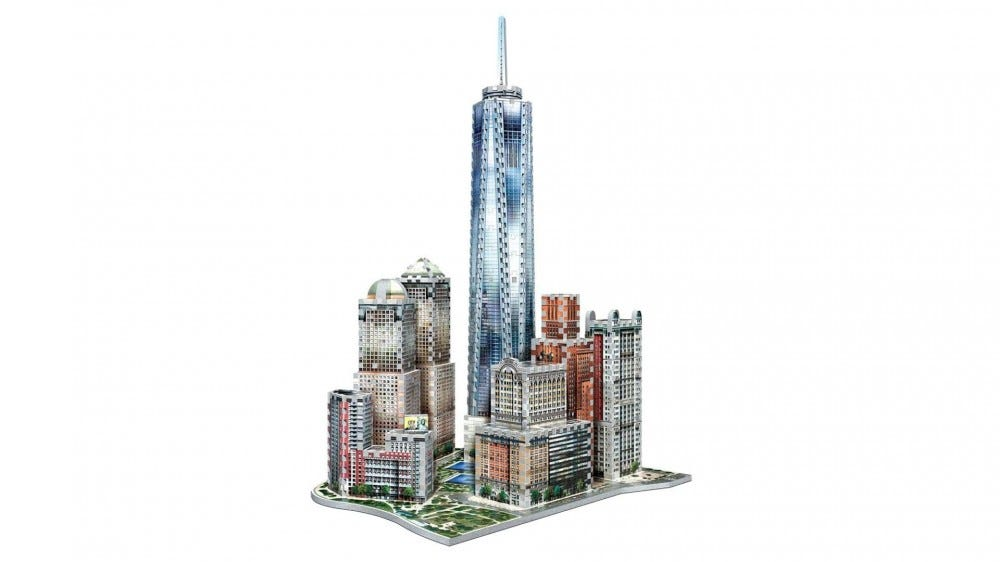 One World Trade Center with adjacent buildings, rendered as a 3D puzzle.