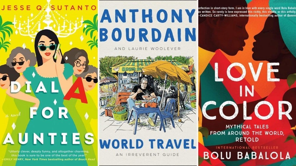 """Book covers for """"Dial A for Aunties"""", """"World Travel: An Irreverent Guide"""", and """"Love In Color"""""""