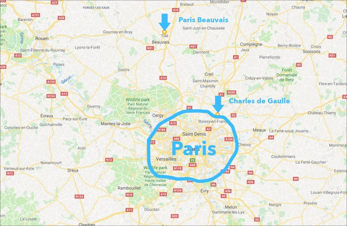 map of France with Paris circled