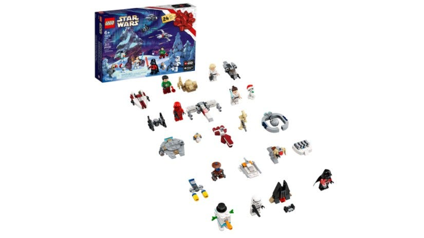 "The LEGO ""Star Wars"" Advent Calendar box and pieces."