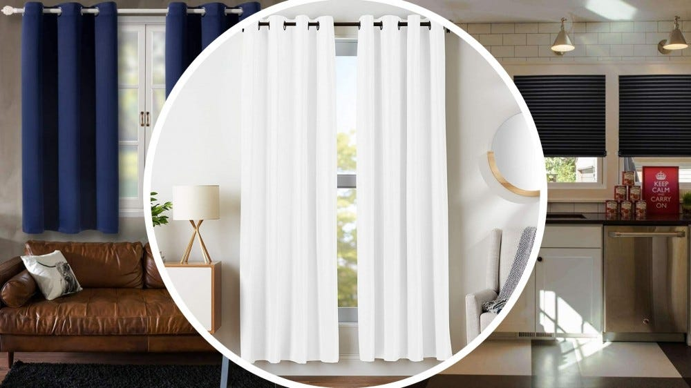 tri fold of blackout curtains and blinds