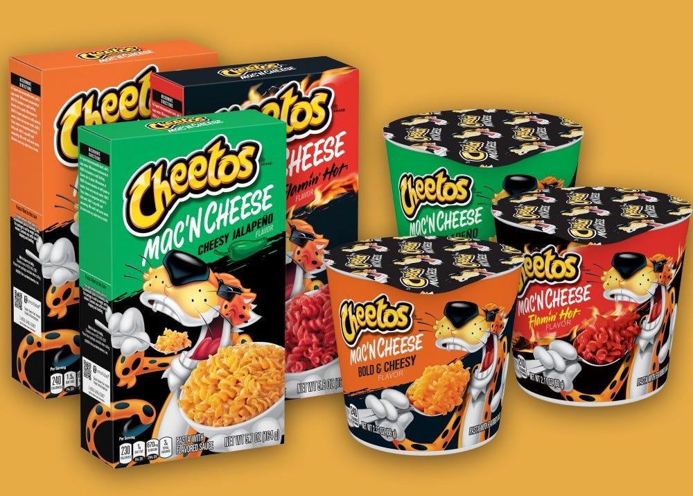 Examples of the nice Cheetos mac 'n cheese varieties.