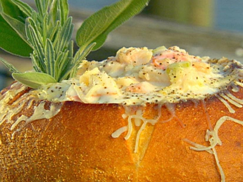 Cajun Bisque served in a bread bowl.