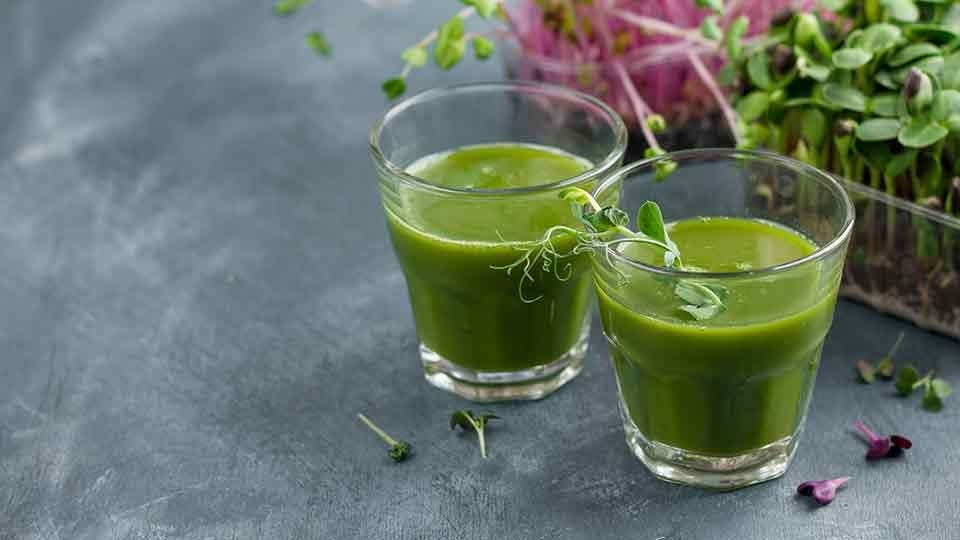 refreshing green juice drink made from vegetables