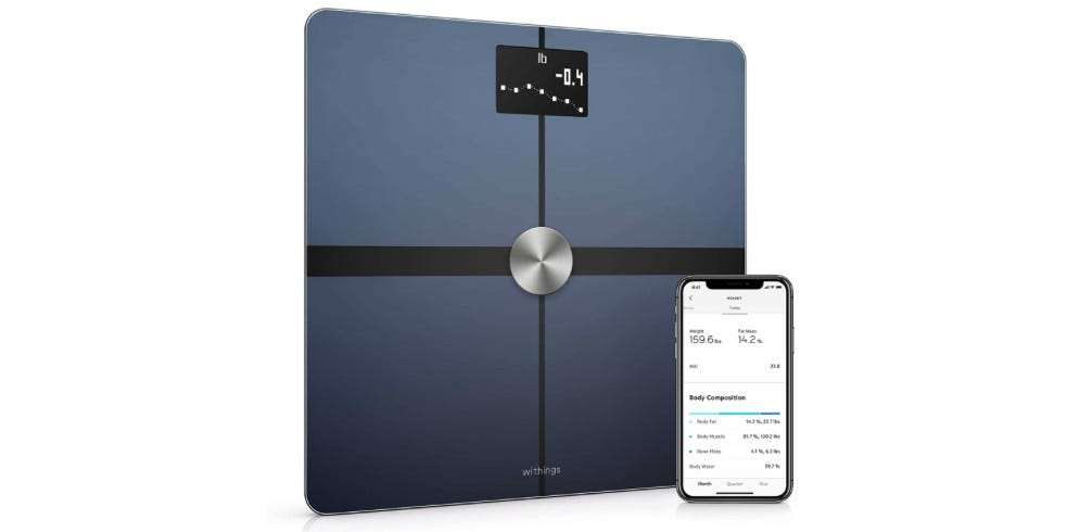 The Withings Body+ smart scale and its companion app on a phone.