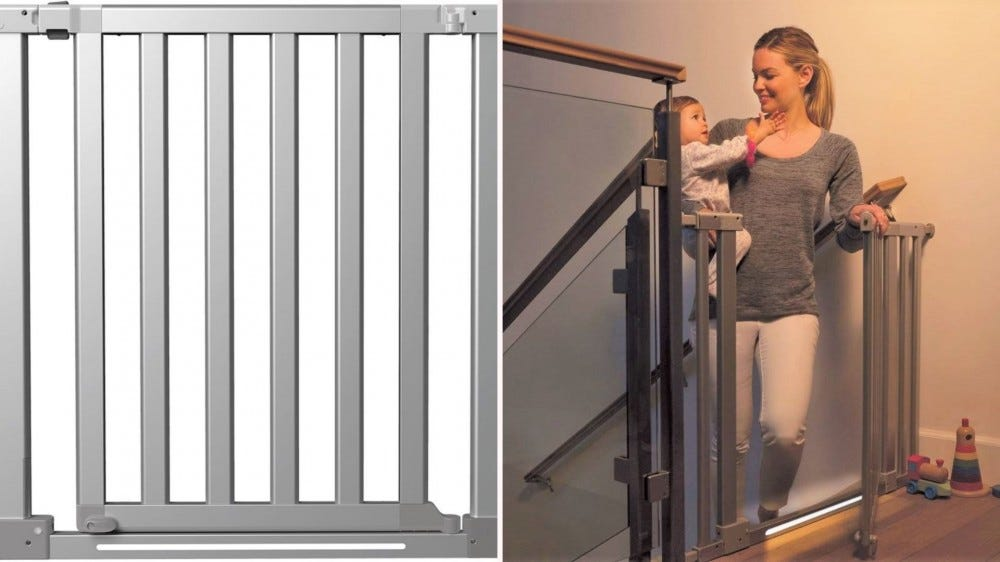 The Munchkin Luna Baby Gate and a mother opening it at the top of the stairs while carrying her child.