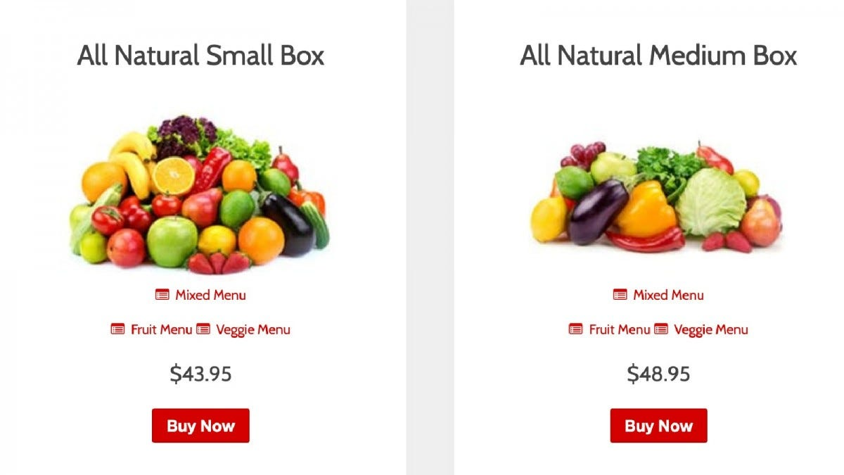 The All Natural Small Box and All Natural Medium Box options on the Farmbox Direct website.