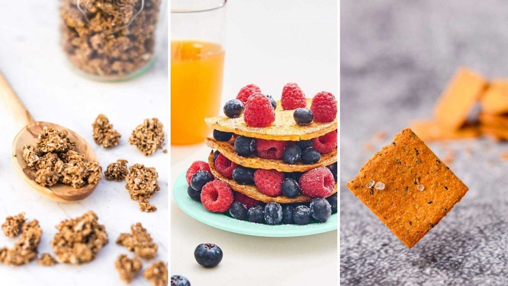 Examples of low-carb products like granola, pancakes, and crackers.