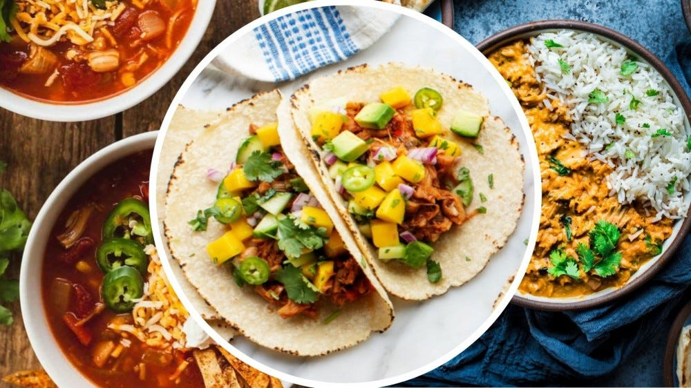Three images of jackfruit meals portrayed in the roundup recipes from this article.