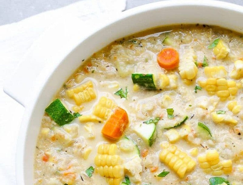 Healthy zucchini and corn chowder
