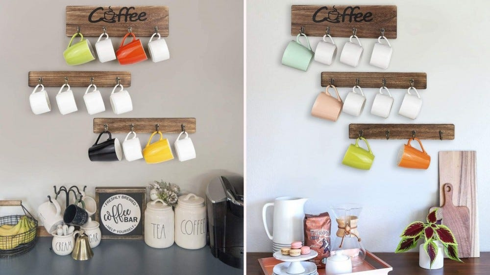 A wooden mug rack in two different configurations holding various coffee mugs.