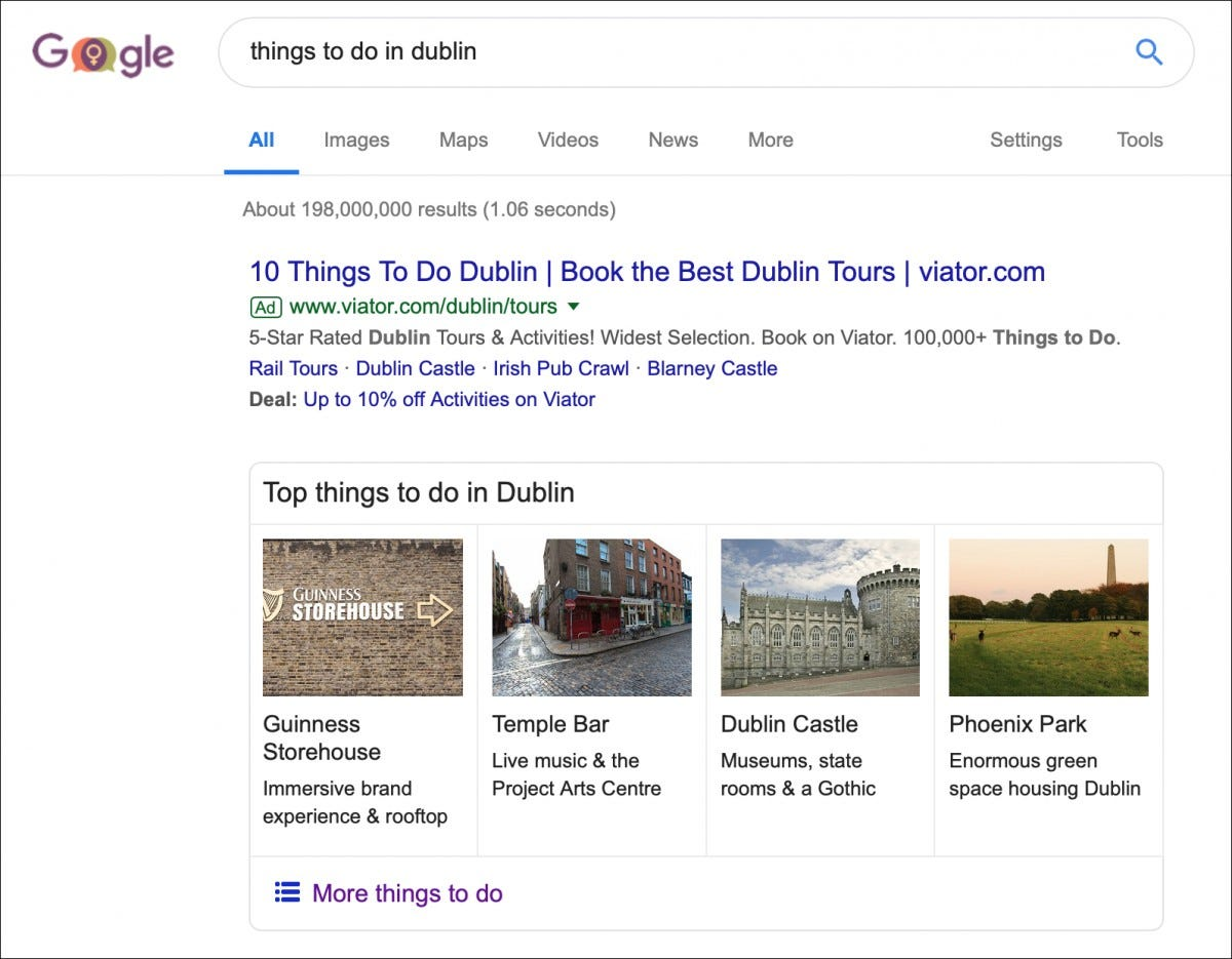Google search of things to do in Dublin