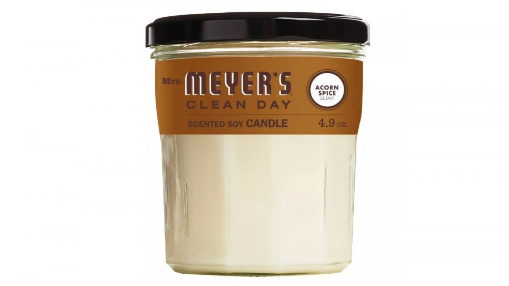 Mrs. Meyers Clean Day Acorn Spice jar candle.