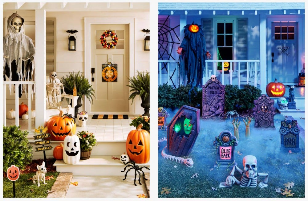 Two porches, staged with Target's new outdoor Halloween decorations.