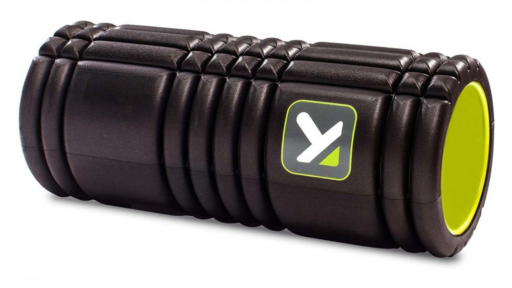 TriggerPoint's textured foam roller featuring a grid-like texture pattern.