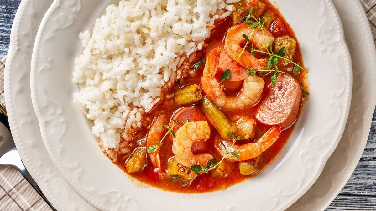 A bowl of Southern-style shrimp gumbo and rice.