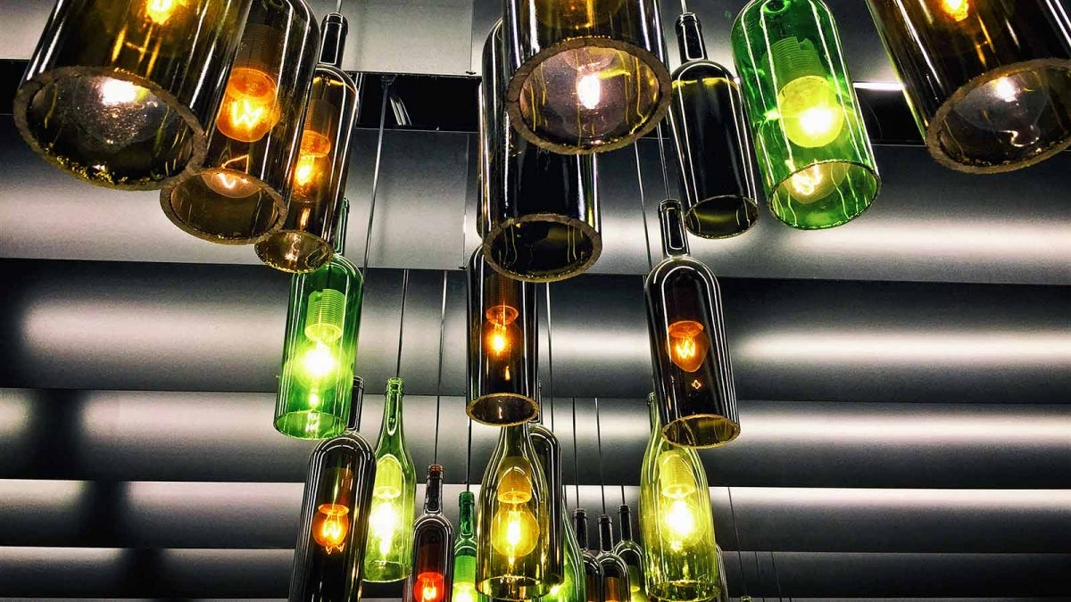 Retro light lamp decoration made of empty wine bottles