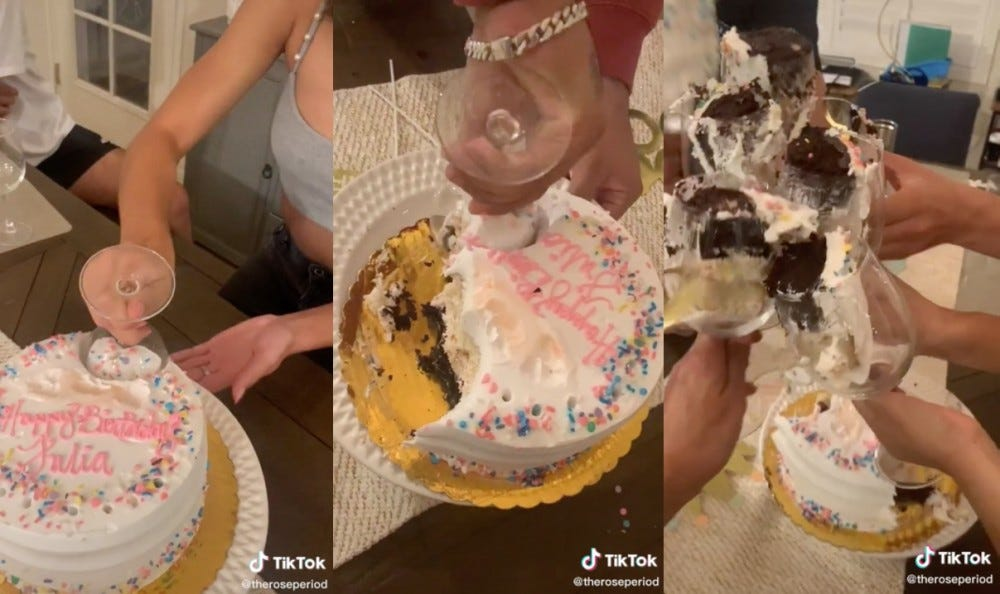 A TikTok hack shows how to cut a cake with a wine glass.