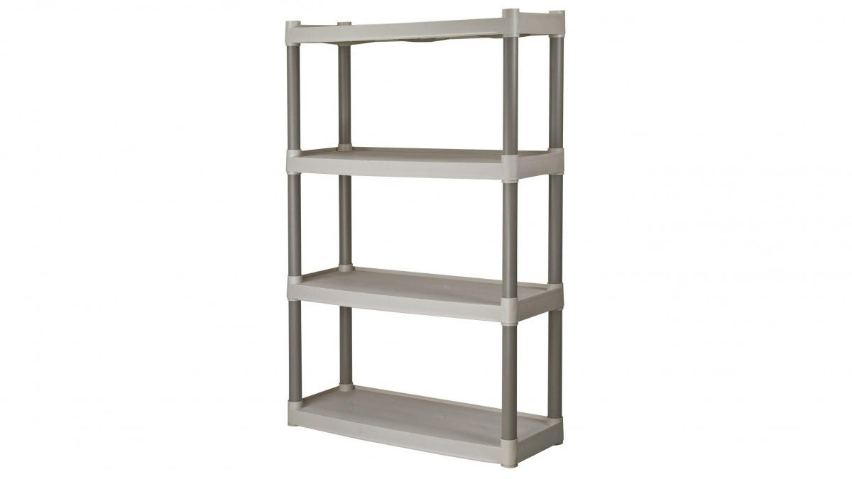 A Plano Molding Four-Shelf Garage Shelf.