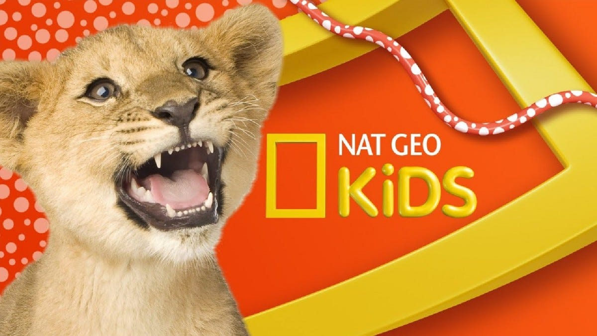 A promotional image for National Geographic Kids, showing a lion cub roaring.