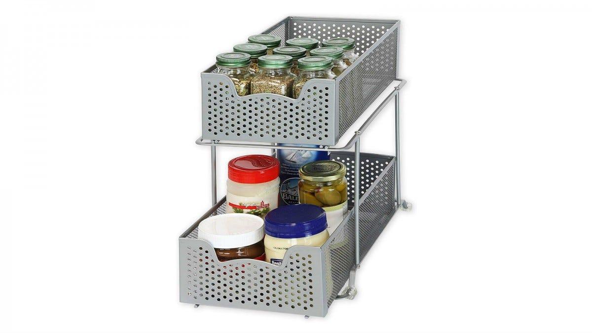 Simple Houseware 2 Tier Sliding Cabinet Basket Organizer
