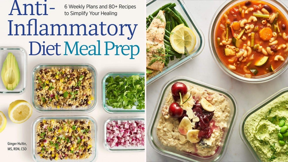 """Cover of the """"Anti-Inflammatory Diet Meal Prep"""" cookbook and three dishes from it."""