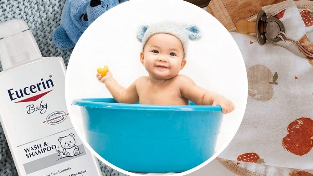 Baby bath products and an adorable baby in a bathtub.