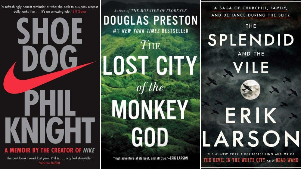 Book covers from left to right: 'Shoe Dog', 'The Lost City of the Monkey God', and 'The Splendid and the Vile'