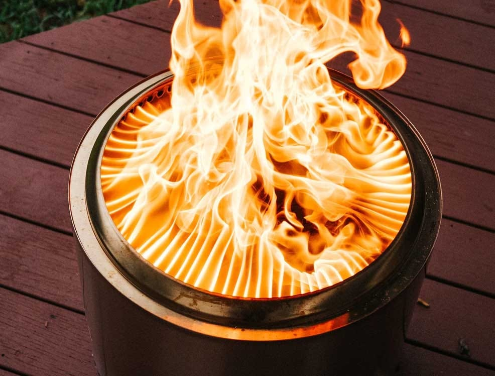 A photograph showing the jets of flame in a Solo Stove.