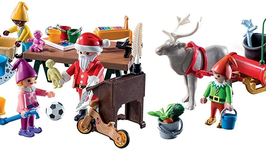 Figures, toys, and reindeer from the Santa's Workshop Advent Calendar.