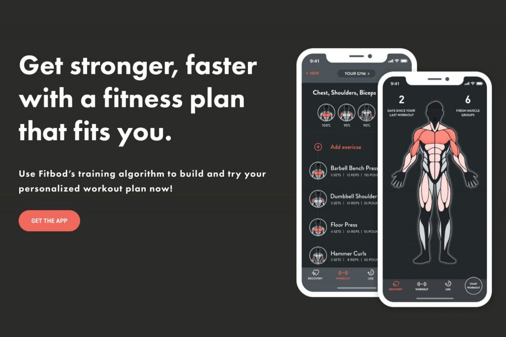 The splash page for the Fitbod app.