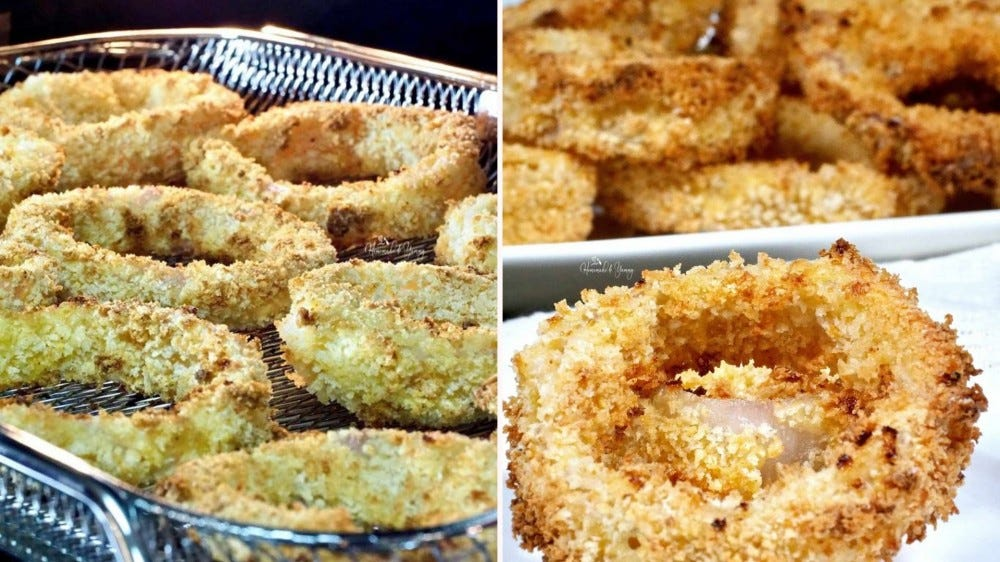 Two side by side images of air fried onion rings; the image on the left is of onion rings placed on the air fryer basket, a