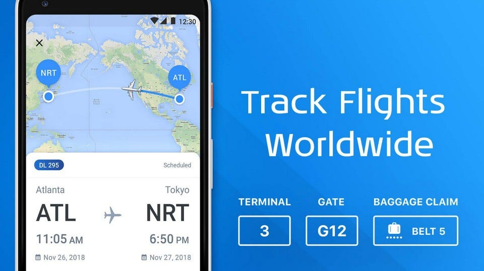 The Flight Tracker app, showing flight times and terminal, gate, and baggage claim numbers.