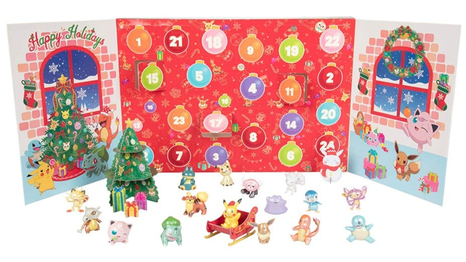 Pokémon toys in front of an Advent calendar.